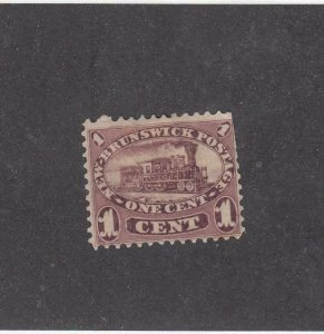 NEW BRUNSWICK (MK3931) # 6  F-MNG  1cts  LOCOMOTIVE /RED LILAC /1860 CAT VAL $20
