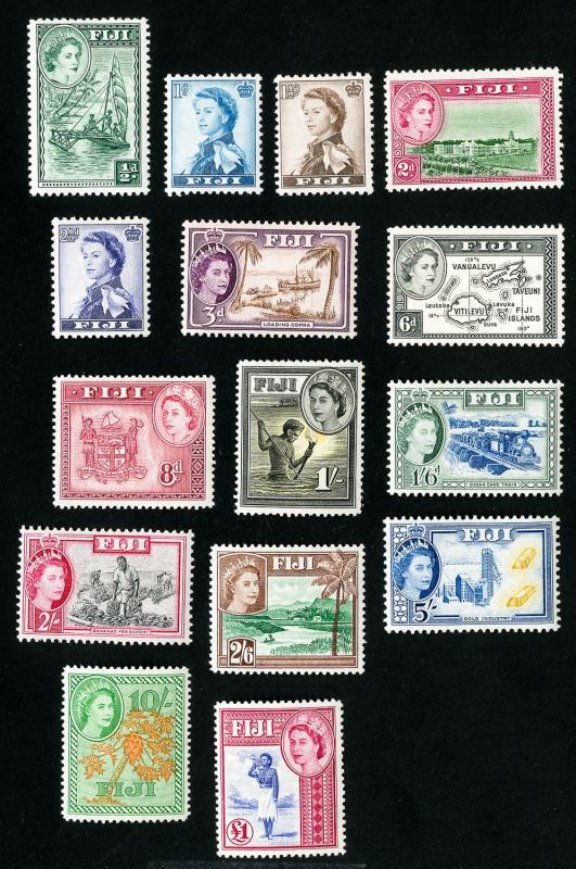 Fiji Stamps # 147-62 VF OG LH Set of 16 Scott Value $119.10