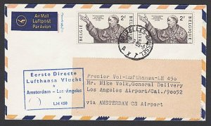 BELGIUM 1969 Lufthansa first flight cover Brussels to Los Ageles............F987