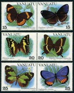 Vanuatu 346-348 ab horizontak pairs,MNH.Michel 644-649. Butterflies 1983.