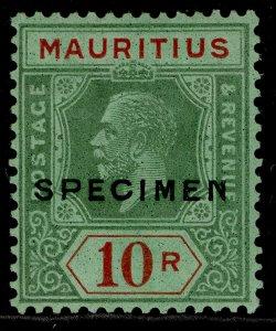MAURITIUS GV SG241s, 10r green & red/emerald, LH MINT. WMK SCRIPT SPECIMEN
