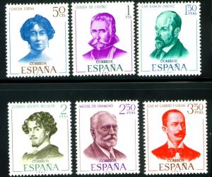 SPAIN Scott 1624-1629 MNH** Writer set Edifil 1705-1708