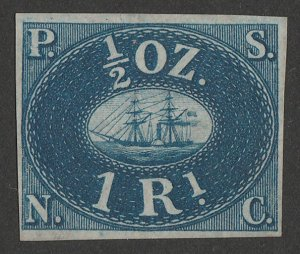 PERU : 1857 Pacific Steam Navigation Co 1R blue, unissued. Only 800 printed.