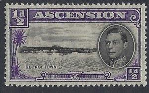 Ascension, Scott #40a; 1/2p King George VI, P13 1/2, MH