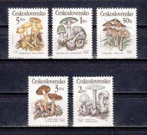 Czechoslovakia, Scott cat. 2758-2762. Poisonous Mushrooms issue.  ^