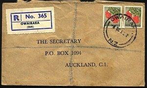 NEW ZEALAND 1965 pair 8d on registered cover ex OWAIRAKA...................24956