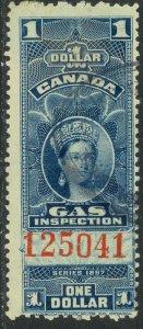CANADA 1897 QV $1.00 GAS INSPECTION REVENUE VDM. FG22 F-VF USED