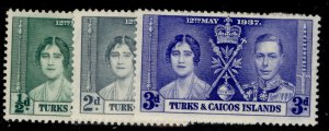 TURKS & CAICOS ISLANDS GVI SG191-193, CORONATION set, M MINT.