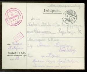 1917 Gnadenfrei Germany POW Camp Cover to Denmark WW 1