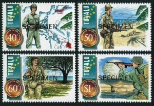 Tuvalu 704-707 SPECIMEN,MNH.Mi 725-728. World War II,end-50,1995.Atomic mushroom