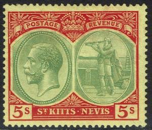 ST KITTS - NEVIS 1921 KGV BADGE 5/- WMK MULTI SCRIPT CA