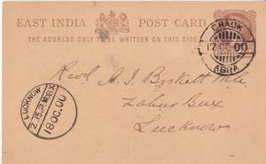 India  1900  QV  1/4A Postcard  CHAUK / AGRA / LUCKNOW To Rev Birkett    02278