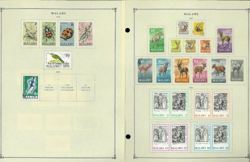 Malawi 1964-1995 M & U Hinged on Scott International Pages