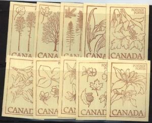 Canada USC#BK77a 1977 Floral Issue Set of ten diff. covers - VF-NH