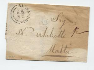 1840 British PO Alexandria Egypt stampless to Malta [y3594]
