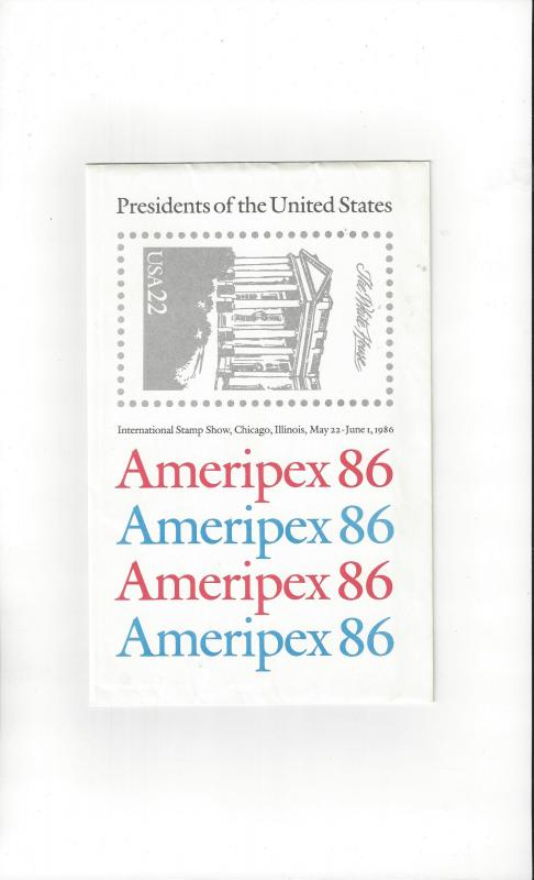 US #2216-19 Presidents of the United States, AMERIPEX 86, 4 complete sheets