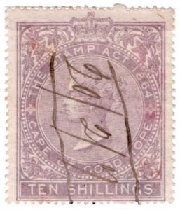 (I.B) Cape of Good Hope Revenue : Stamp Duty 10/- (1865)