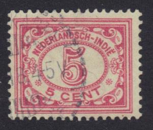 Netherlands Indies 1912  used  numbers  5 ct  rose  #