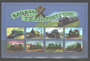 ST. VINCENT & THE GRENADINES 1998  TRAINS MS.#2596  MNH