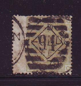 Great Britain Sc 70 1877 4d pale olive green Victoria stamp used