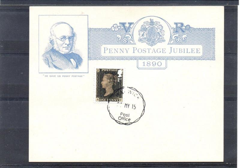 GB = 1890 Penny Postage Jubilee card used 2015 with 1st NVI Penny Black. CDS.