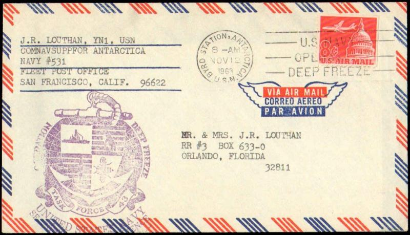 1963 BYRD STATION ANTARCTIC WITH DEEP FREEZE CACHET