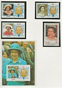 TUVALU 1986 60TH BIRTHDAY QUEEN ELIZABETH 11, SET OF 4 + SOUVENIR SHEET PERF