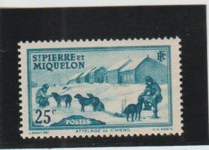 St. Pierre & Miquelon  Scott#  179  MH  (1938 Dog Team)