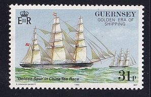 Guernsey  #371  MNH  1988  voyage golden spur ship  31p