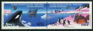 Chile 933-934,934a sheet,MNH. Antarctic,1990.Penguins,Whale,Bird,Helicopter,Ship