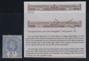 British Honduras, SG 97a, used Damaged Frame & Crown - Spaven variety