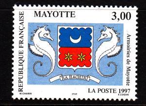 Mayotte MNH Scott #86 3fr Coat of Arms - seahorses