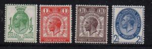 Great Britain Sc 205-8 1929 UPU stamp set mint