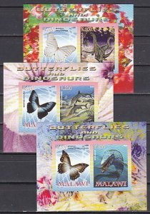 Malawi, 2008 Cinderella issue. Butterflies & Dinosaurs, 3 IMPERF sheets of 2. ^