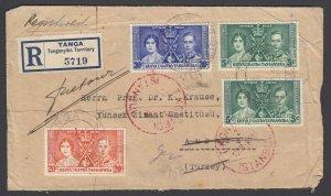 KUT, Sc 60-62 (SG 128-130), 1937 registered cover to TURKEY (returned to Tanga)