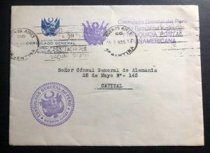 1935 Buenos Aires Argentina Diplomatic PERU Consulate Cover To German Embassy