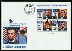 TOGO 2020 155th MEMORIAL ANNIVERSARY OF ABRAHAM LINCOLN IMPRF SHEET FDC