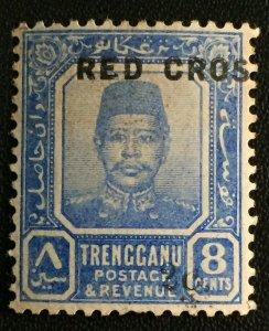 MALAYA 1917 MISPELT RED CROSS opt TRENGGANU 2c+8c MH SG#22 M3153