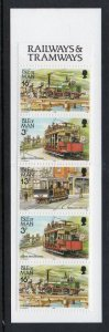 Isle of Man Sc 355 b pane in complete 50p train stamp booklet mint NH