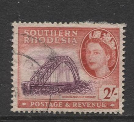 Southern Rhodesia- Scott 90 - QEII Definitives -1953 - Used- Single 2/- Stamp