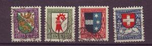 J25559 JLstamps 1926 switzerland set used #b37-40 arms