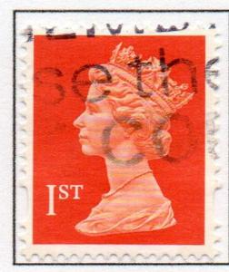 Great Britain Sc MH241 1993 1st orange red litho QE II  Machin Head stamp used