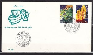 Iceland, Scott cat. 652-653. Christmas Art. First day cover. ^