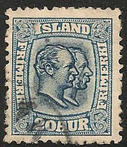 Iceland #107 VF Used  1915 20a Christian IV & Frederick VIII