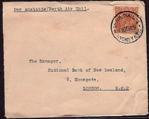 AUSTRALIA 1934 GV 5d on airmail cover Sydney to London.....................31977