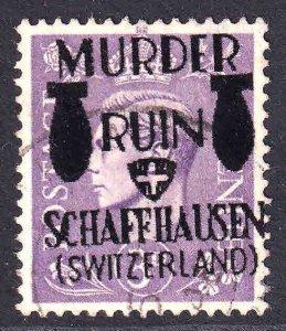 GREAT BRITAIN 263 MURDER RUIN SCHAFFHAUSEN OVERPRINT USED XF SOUND