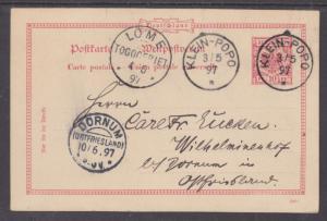 Togo Mi P10 used 1897 10pf Postal Card, KLEIN-POPO to DORNUM
