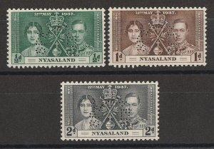 NYASALAND 1937 KGVI Coronation set ½d-2d, perf SPECIMEN. MNH **.