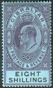 GIBRALTAR-1903 8/- Dull Purple & Black/Blue lightly mounted mint example Sg 54