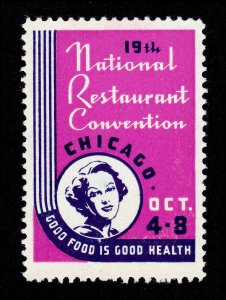 REKLAMEMARKE POSTER STAMP 19TH NATIONAL RESTAURANT CONVENTION CHICAGO ILLINOIS